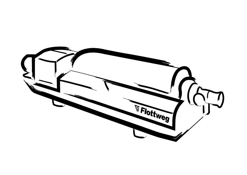 Flottweg Dekanter Pinselstrich-Illustration 1