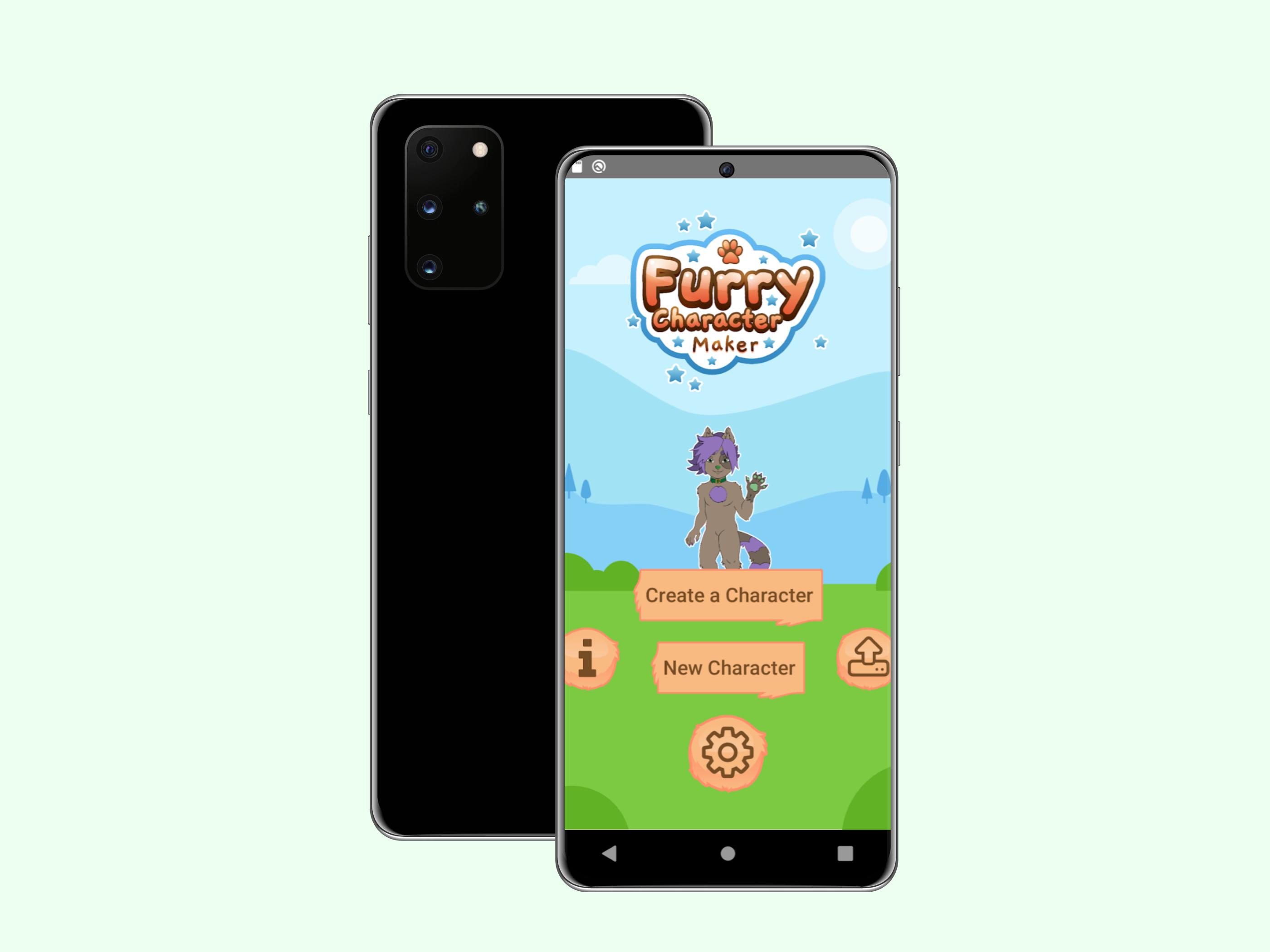 Furry Character Maker app Start Screen
