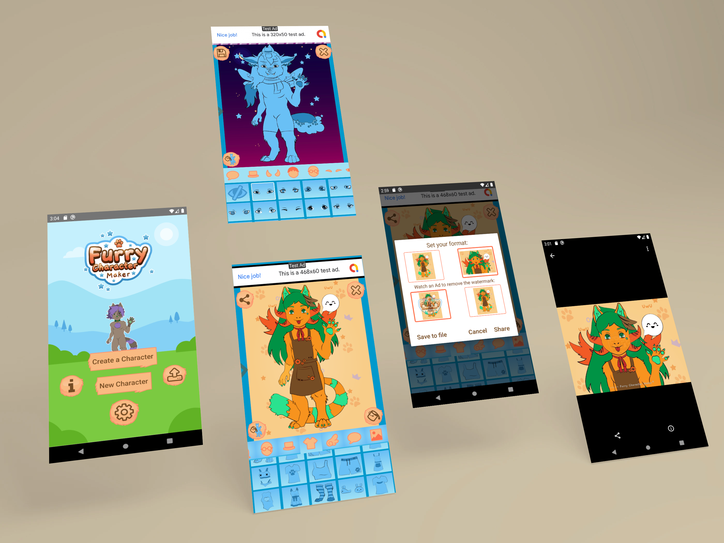 Furry Character Maker app Screens